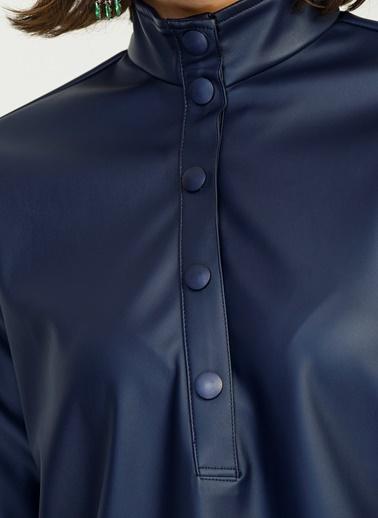 Yarım Patlı Suni Deri Gömlek-People By Fabrika